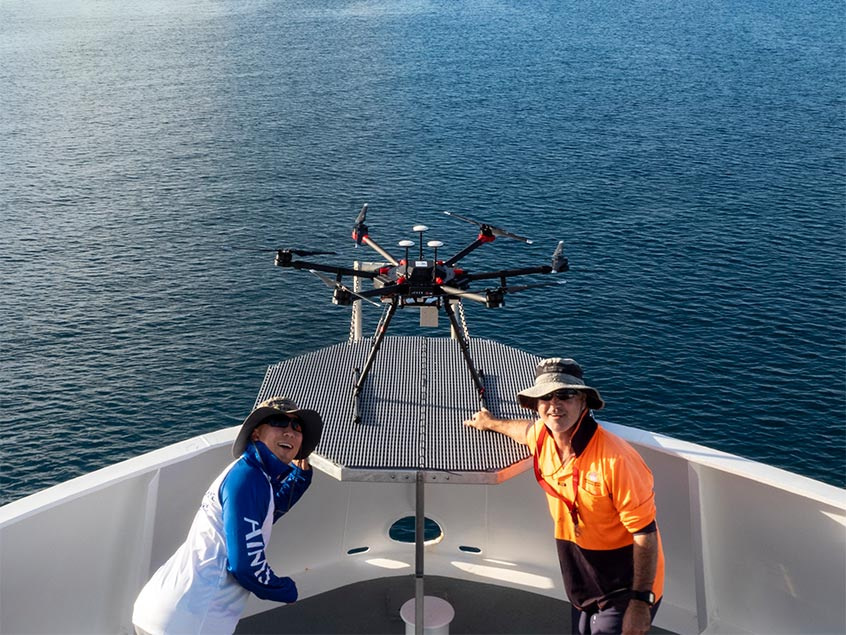 AIMS Chief Pilot, Joe Gioffre and hyperspectral research lead Dr Jon Kok conducting hyperspectral drone testing from the RV Cape Ferguson